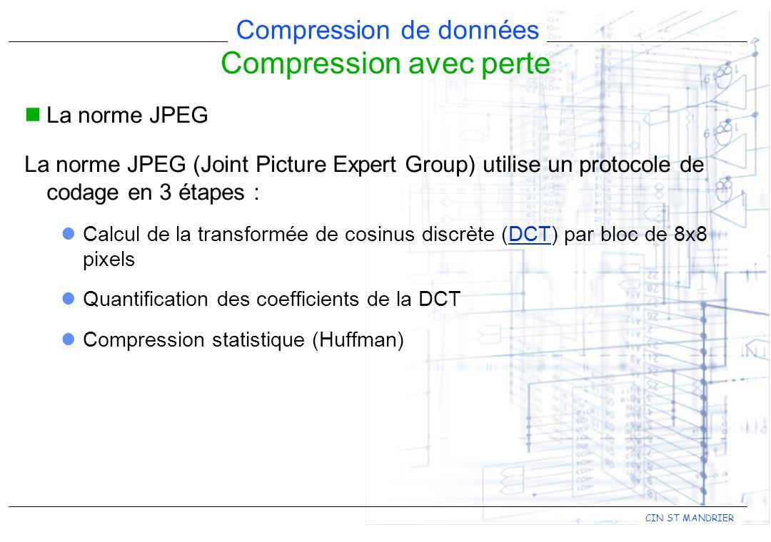 CIN ST MANDRIER Compression de données Compression avec perte La norme JPEG La norme JPEG (Joint Picture Expert Group) utilise un protocole de codage