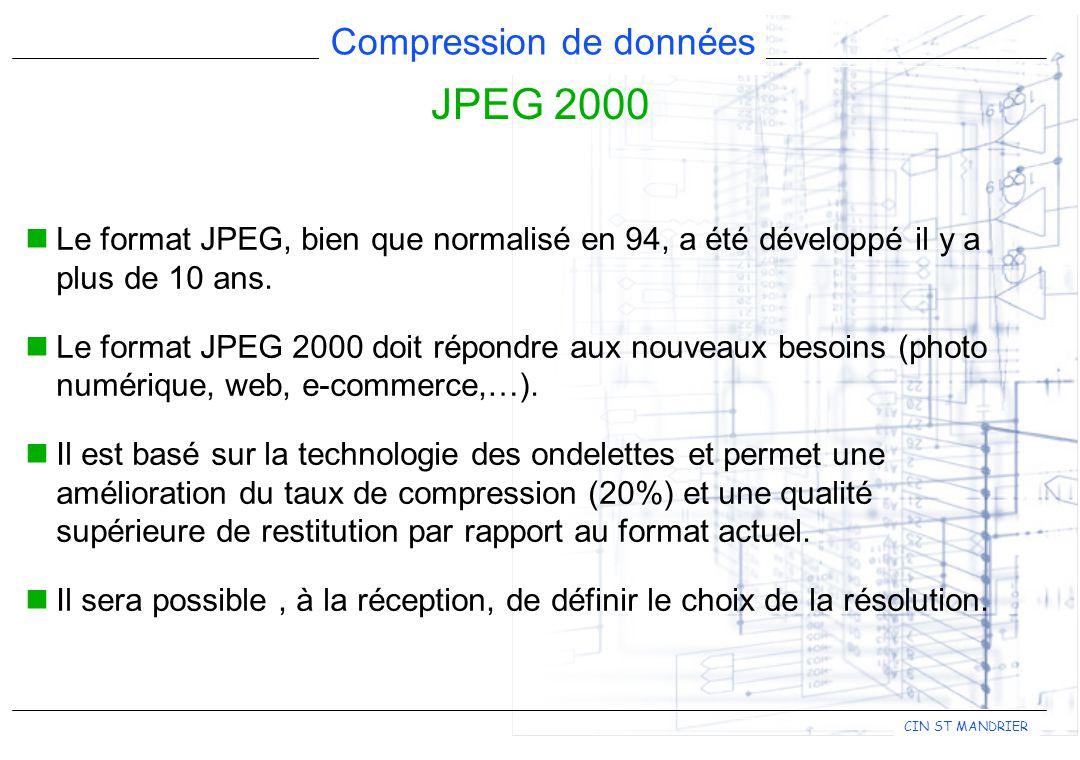 CIN ST MANDRIER Compression de données JPEG 2000 Le format JPEG, bien que normalisé en 94, a été développé il y a plus de 10 ans. Le format JPEG 2000