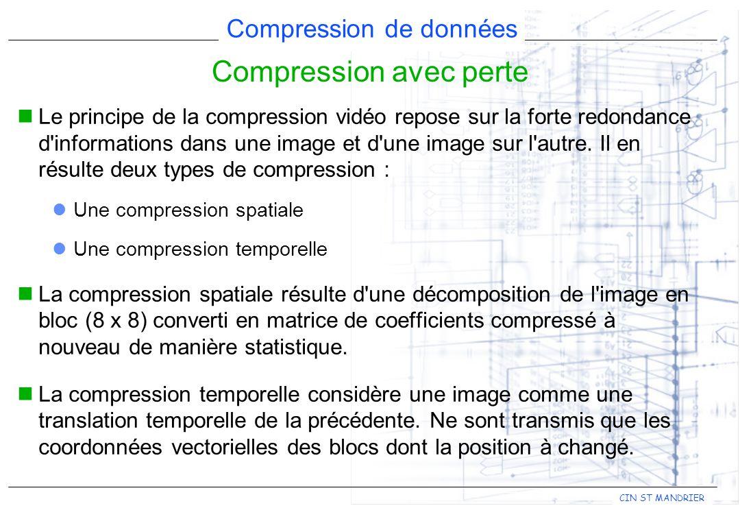 CIN ST MANDRIER Compression de données Compression avec perte Le principe de la compression vidéo repose sur la forte redondance d'informations dans u