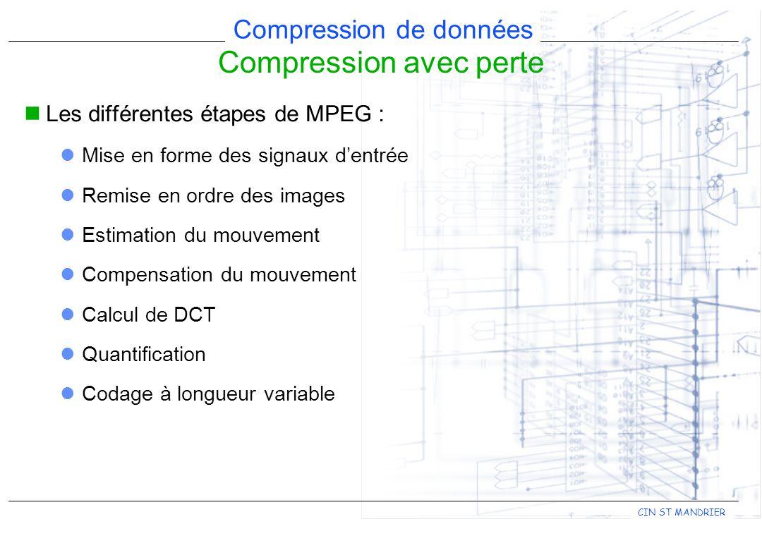 CIN ST MANDRIER Compression de données Compression avec perte Les différentes étapes de MPEG : Mise en forme des signaux d'entrée Remise en ordre des