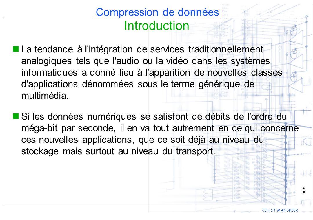 CIN ST MANDRIER Compression de données La tendance à l'intégration de services traditionnellement analogiques tels que l'audio ou la vidéo dans les sy