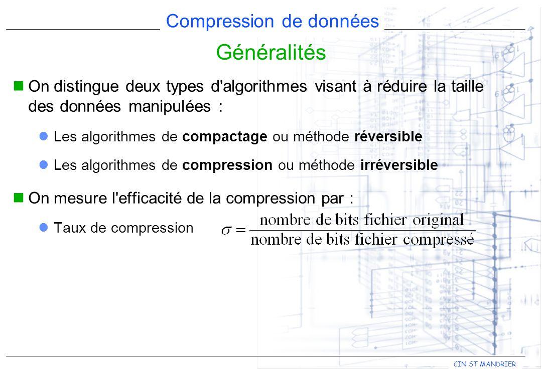 CIN ST MANDRIER Compression de données Généralités On distingue deux types d'algorithmes visant à réduire la taille des données manipulées : Les algor