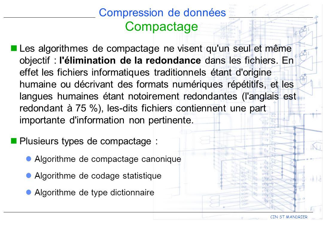 CIN ST MANDRIER Compression de données Compactage Les algorithmes de compactage ne visent qu'un seul et même objectif : l'élimination de la redondance