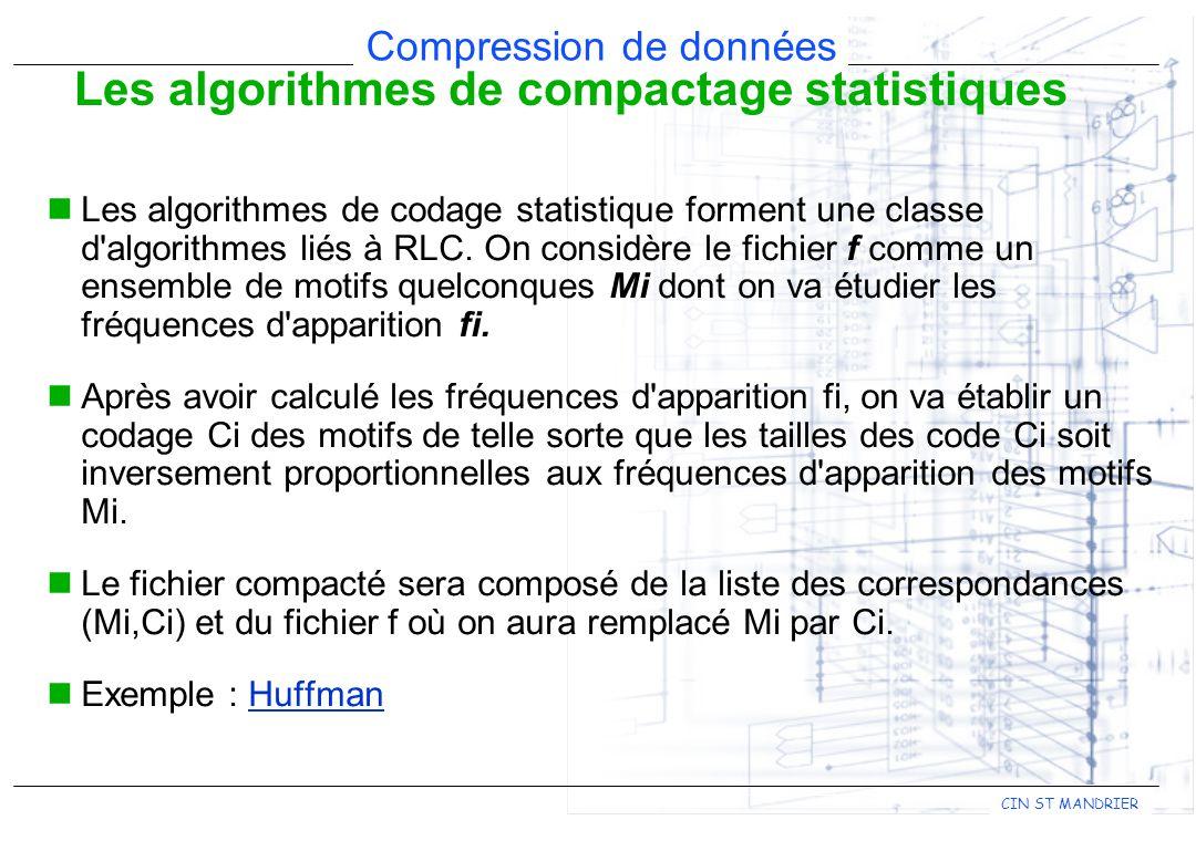 CIN ST MANDRIER Compression de données Les algorithmes de codage statistique forment une classe d'algorithmes liés à RLC. On considère le fichier f co
