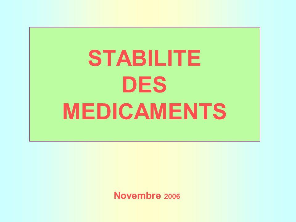 STABILITE DES MEDICAMENTS Novembre 2006