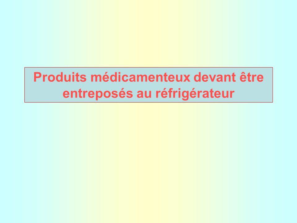 Produits médicamenteux devant être entreposés au réfrigérateur