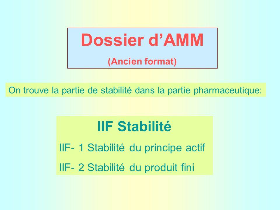 Dossier d'AMM (Ancien format) On trouve la partie de stabilité dans la partie pharmaceutique: IIF Stabilité IIF- 1 Stabilité du principe actif IIF- 2 Stabilité du produit fini