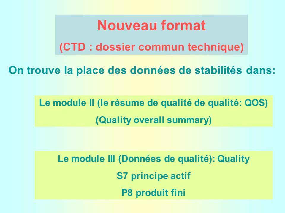 Nouveau format (CTD : dossier commun technique) On trouve la place des données de stabilités dans: Le module II (le résume de qualité de qualité: QOS) (Quality overall summary) Le module III (Données de qualité): Quality S7 principe actif P8 produit fini