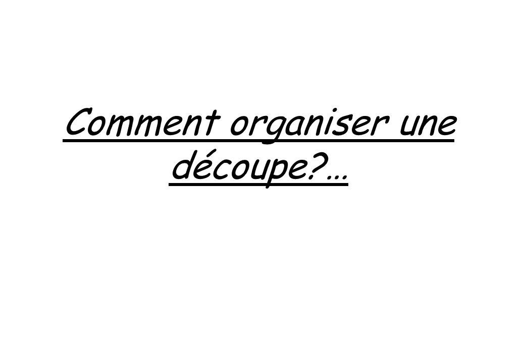 Comment organiser une découpe?…