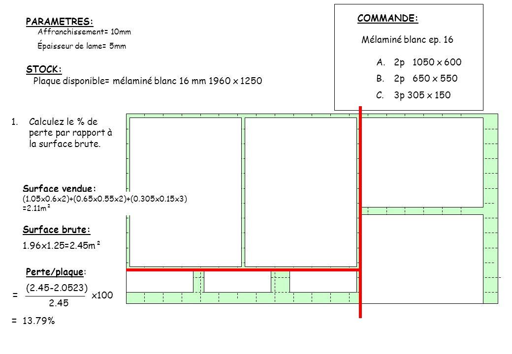 Affranchissement= 10mm Épaisseur de lame= 5mm A.2p 1050 x 600 B.2p 650 x 550 C.3p 305 x 150 Mélaminé blanc ep. 16 COMMANDE: Plaque disponible= mélamin