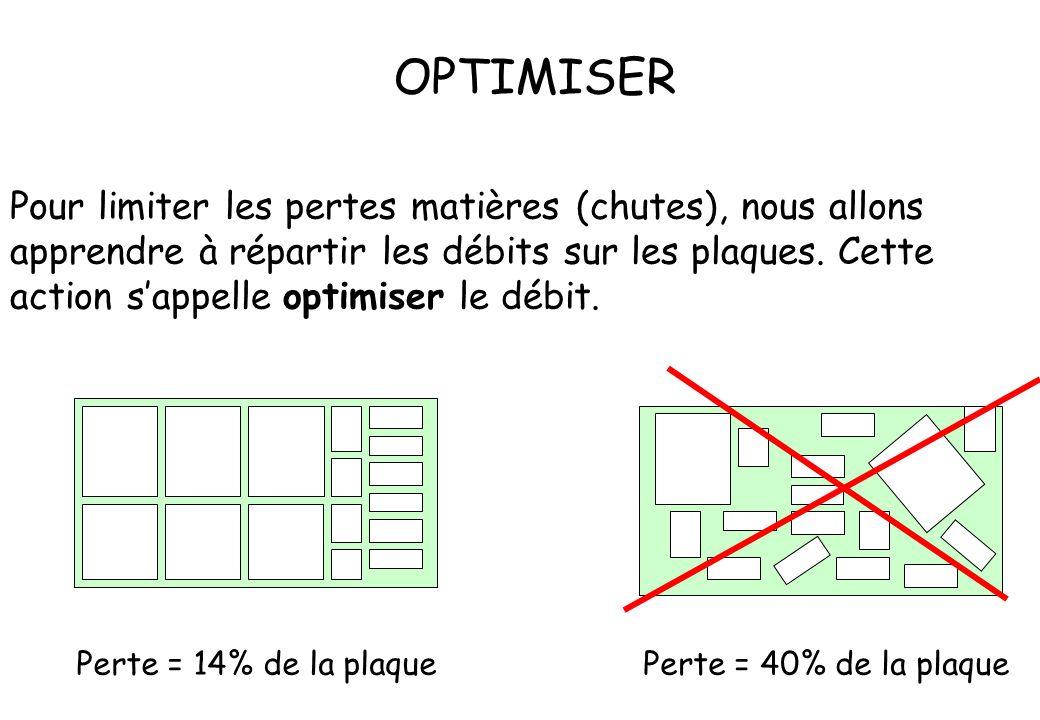 Pour limiter les pertes matières (chutes), nous allons apprendre à répartir les débits sur les plaques. Cette action s'appelle optimiser le débit. OPT