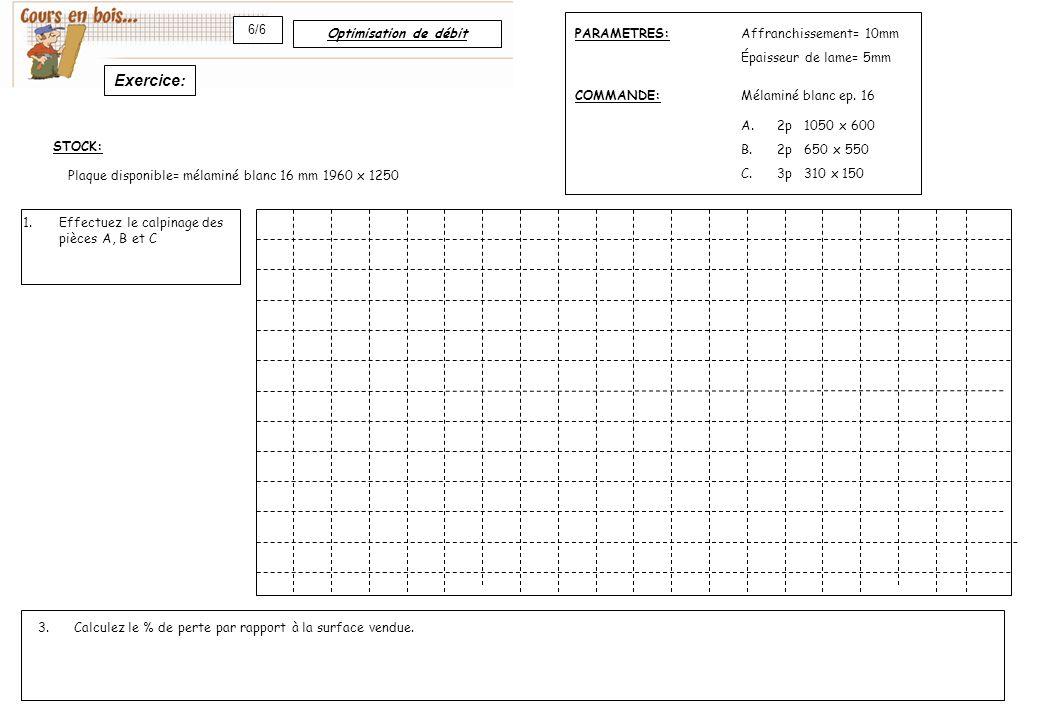 Optimisation de débit 6/6 Affranchissement= 10mm Épaisseur de lame= 5mm A.2p 1050 x 600 B.2p 650 x 550 C.3p 310 x 150 Mélaminé blanc ep. 16COMMANDE: P