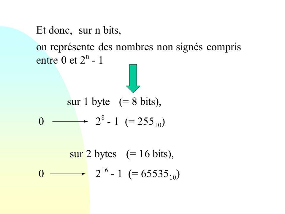 Et donc, sur n bits, on représente des nombres non signés compris entre 0 et 2 n - 1 sur 1 byte (= 8 bits), 02 8 - 1 (= 255 10 ) sur 2 bytes (= 16 bit