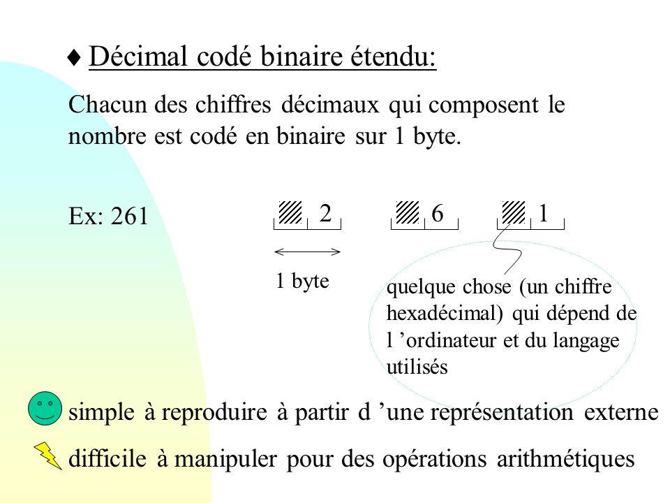  Décimal codé binaire étendu: Chacun des chiffres décimaux qui composent le nombre est codé en binaire sur 1 byte. Ex: 261 612 quelque chose (un chif