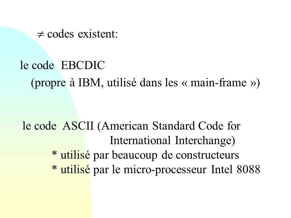 le code EBCDIC (propre à IBM, utilisé dans les « main-frame »)  codes existent: le code ASCII (American Standard Code for International Interchange)