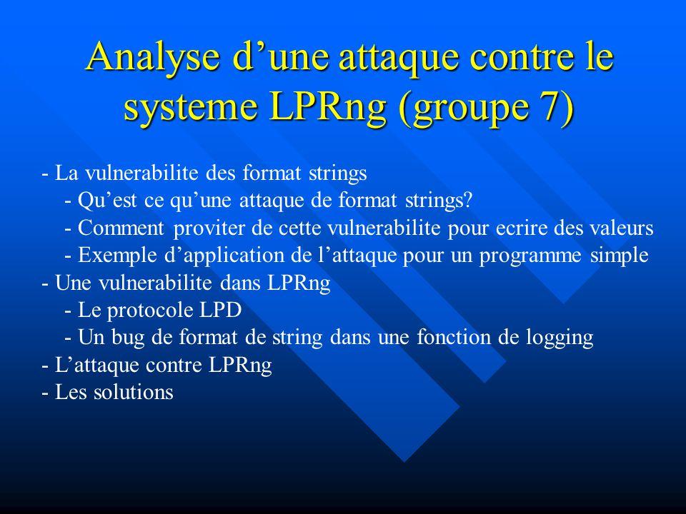 Analyse d'une attaque contre le systeme LPRng (groupe 7) - La vulnerabilite des format strings - Qu'est ce qu'une attaque de format strings? - Comment
