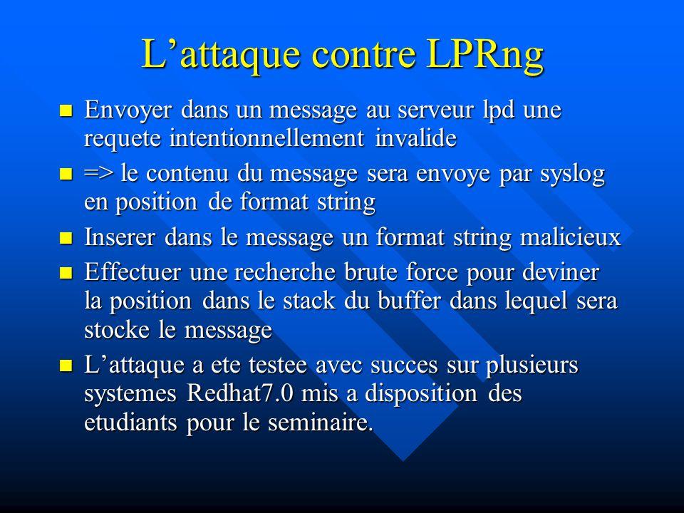 L'attaque contre LPRng Envoyer dans un message au serveur lpd une requete intentionnellement invalide Envoyer dans un message au serveur lpd une requete intentionnellement invalide => le contenu du message sera envoye par syslog en position de format string => le contenu du message sera envoye par syslog en position de format string Inserer dans le message un format string malicieux Inserer dans le message un format string malicieux Effectuer une recherche brute force pour deviner la position dans le stack du buffer dans lequel sera stocke le message Effectuer une recherche brute force pour deviner la position dans le stack du buffer dans lequel sera stocke le message L'attaque a ete testee avec succes sur plusieurs systemes Redhat7.0 mis a disposition des etudiants pour le seminaire.