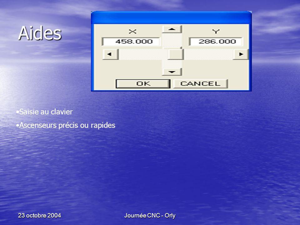 23 octobre 2004Journée CNC - Orly Aides Saisie au clavier Ascenseurs précis ou rapides