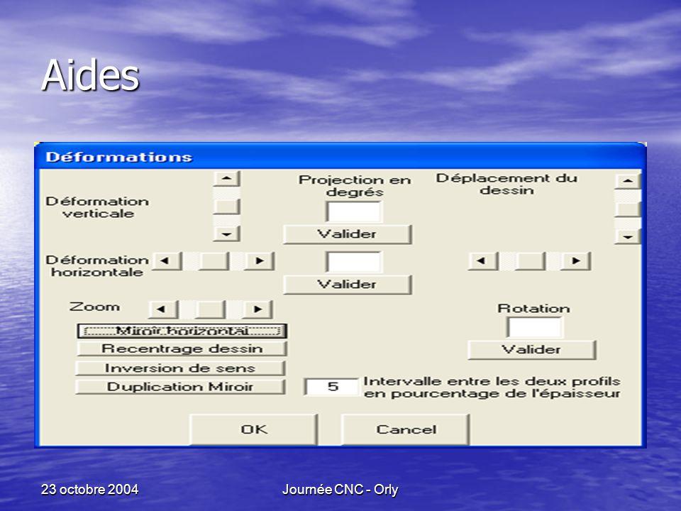 23 octobre 2004Journée CNC - Orly Aides