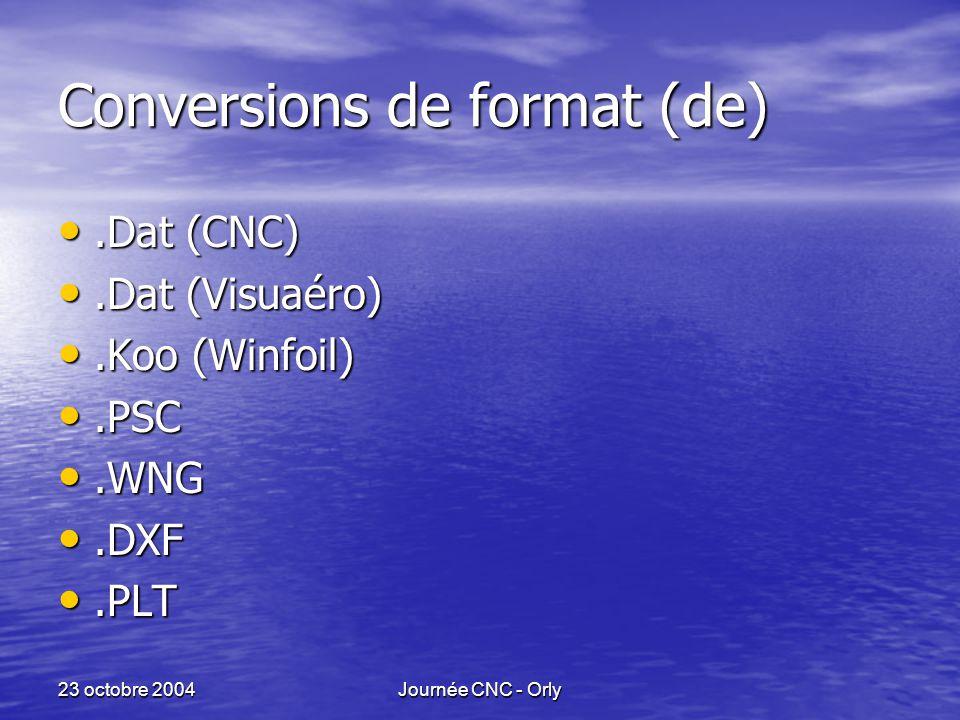 23 octobre 2004Journée CNC - Orly Conversions de format (de).Dat (CNC).Dat (CNC).Dat (Visuaéro).Dat (Visuaéro).Koo (Winfoil).Koo (Winfoil).PSC.PSC.WNG.WNG.DXF.DXF.PLT.PLT