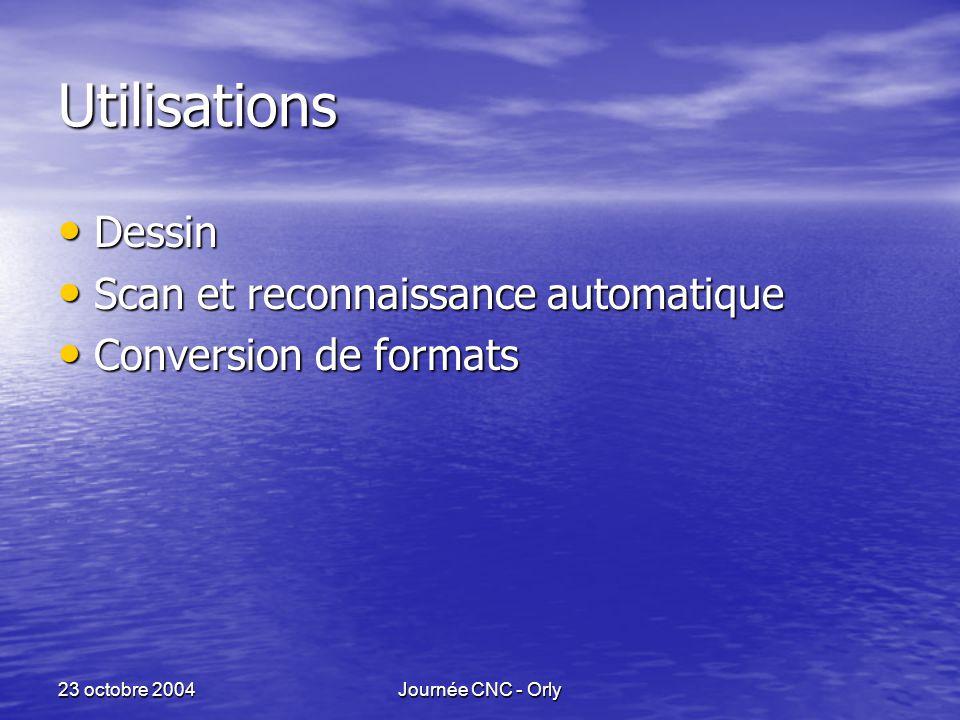 23 octobre 2004Journée CNC - Orly Utilisations Dessin Dessin Scan et reconnaissance automatique Scan et reconnaissance automatique Conversion de formats Conversion de formats