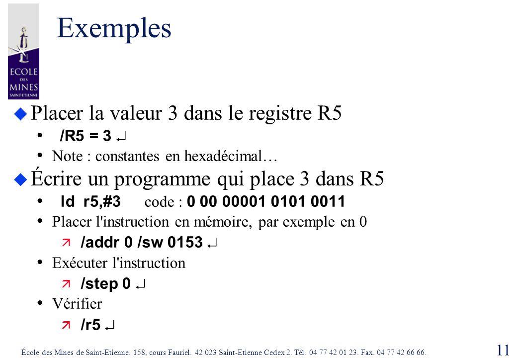 11 École des Mines de Saint-Etienne. 158, cours Fauriel. 42 023 Saint-Etienne Cedex 2. Tél. 04 77 42 01 23. Fax. 04 77 42 66 66. Exemples  Placer la