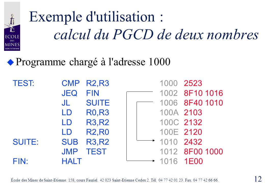 12 École des Mines de Saint-Etienne. 158, cours Fauriel. 42 023 Saint-Etienne Cedex 2. Tél. 04 77 42 01 23. Fax. 04 77 42 66 66. Exemple d'utilisation