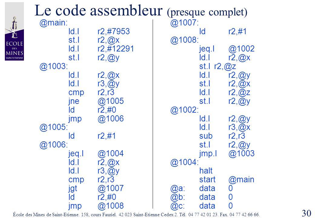 30 École des Mines de Saint-Etienne. 158, cours Fauriel. 42 023 Saint-Etienne Cedex 2. Tél. 04 77 42 01 23. Fax. 04 77 42 66 66. Le code assembleur (p