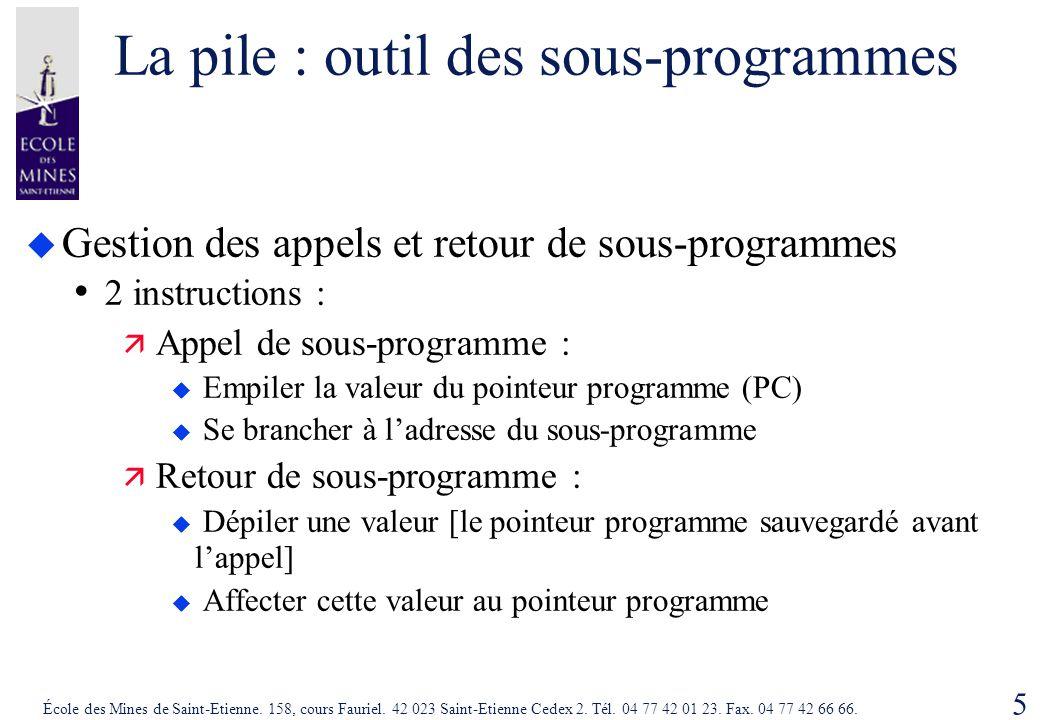 5 École des Mines de Saint-Etienne. 158, cours Fauriel. 42 023 Saint-Etienne Cedex 2. Tél. 04 77 42 01 23. Fax. 04 77 42 66 66. La pile : outil des so