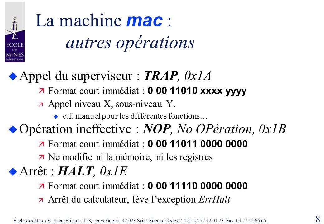 8 École des Mines de Saint-Etienne. 158, cours Fauriel. 42 023 Saint-Etienne Cedex 2. Tél. 04 77 42 01 23. Fax. 04 77 42 66 66. La machine mac : autre
