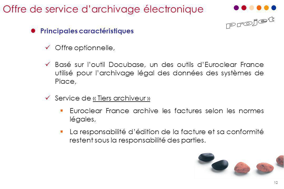12 Offre de service d'archivage électronique l Principales caractéristiques Offre optionnelle, Basé sur l'outil Docubase, un des outils d'Euroclear Fr