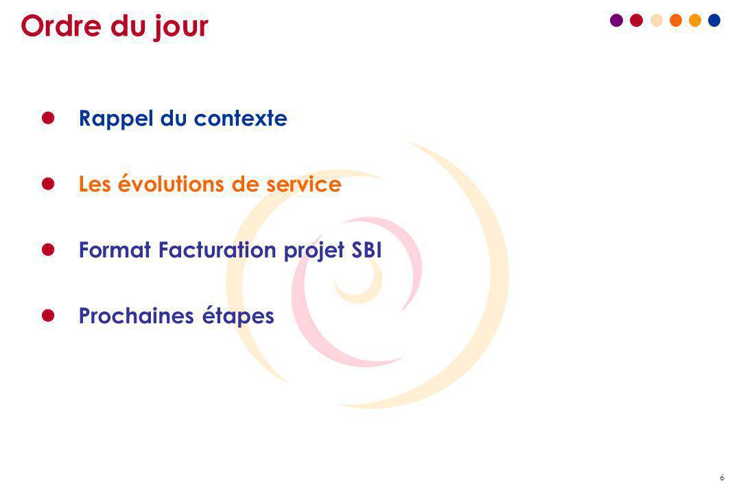 6 Ordre du jour l Rappel du contexte l Les évolutions de service l Format Facturation projet SBI l Prochaines étapes