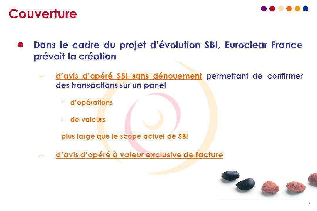 9 Couverture l Dans le cadre du projet d'évolution SBI, Euroclear France prévoit la création – d'avis d'opéré SBI sans dénouement permettant de confir