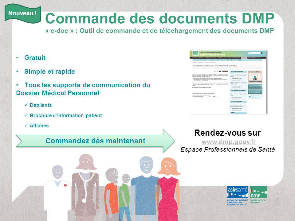Rendez-vous sur www.dmp.gouv.fr Espace Professionnels de Santé Commande des documents DMP « e-doc » : Outil de commande et de téléchargement des docum