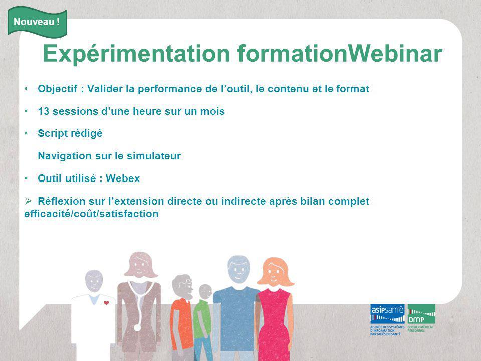 Expérimentation formationWebinar Objectif : Valider la performance de l'outil, le contenu et le format 13 sessions d'une heure sur un mois Script rédi