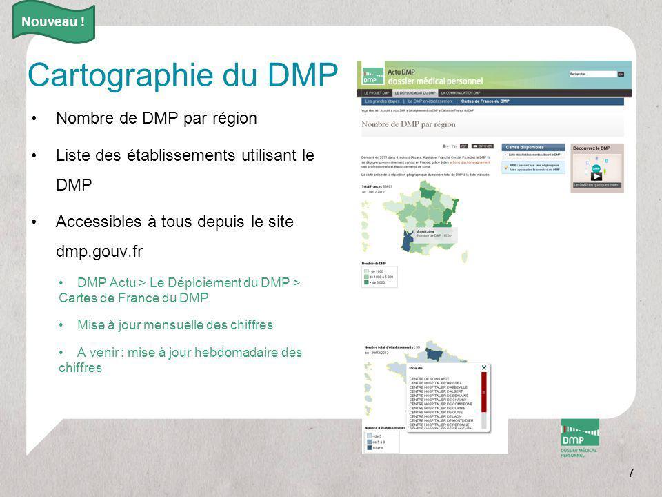 7 Cartographie du DMP Nombre de DMP par région Liste des établissements utilisant le DMP Accessibles à tous depuis le site dmp.gouv.fr DMP Actu > Le D