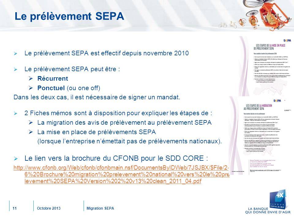 Octobre 2013Migration SEPA11 Le prélèvement SEPA  Le prélèvement SEPA est effectif depuis novembre 2010  Le prélèvement SEPA peut être :  Récurrent  Ponctuel (ou one off) Dans les deux cas, il est nécessaire de signer un mandat.