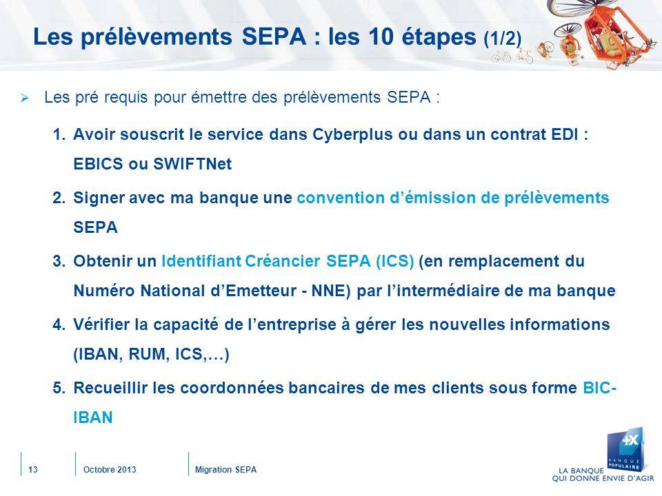 Octobre 2013Migration SEPA13 Les prélèvements SEPA : les 10 étapes (1/2)  Les pré requis pour émettre des prélèvements SEPA : 1.Avoir souscrit le service dans Cyberplus ou dans un contrat EDI : EBICS ou SWIFTNet 2.Signer avec ma banque une convention d'émission de prélèvements SEPA 3.Obtenir un Identifiant Créancier SEPA (ICS) (en remplacement du Numéro National d'Emetteur - NNE) par l'intermédiaire de ma banque 4.Vérifier la capacité de l'entreprise à gérer les nouvelles informations (IBAN, RUM, ICS,…) 5.Recueillir les coordonnées bancaires de mes clients sous forme BIC- IBAN