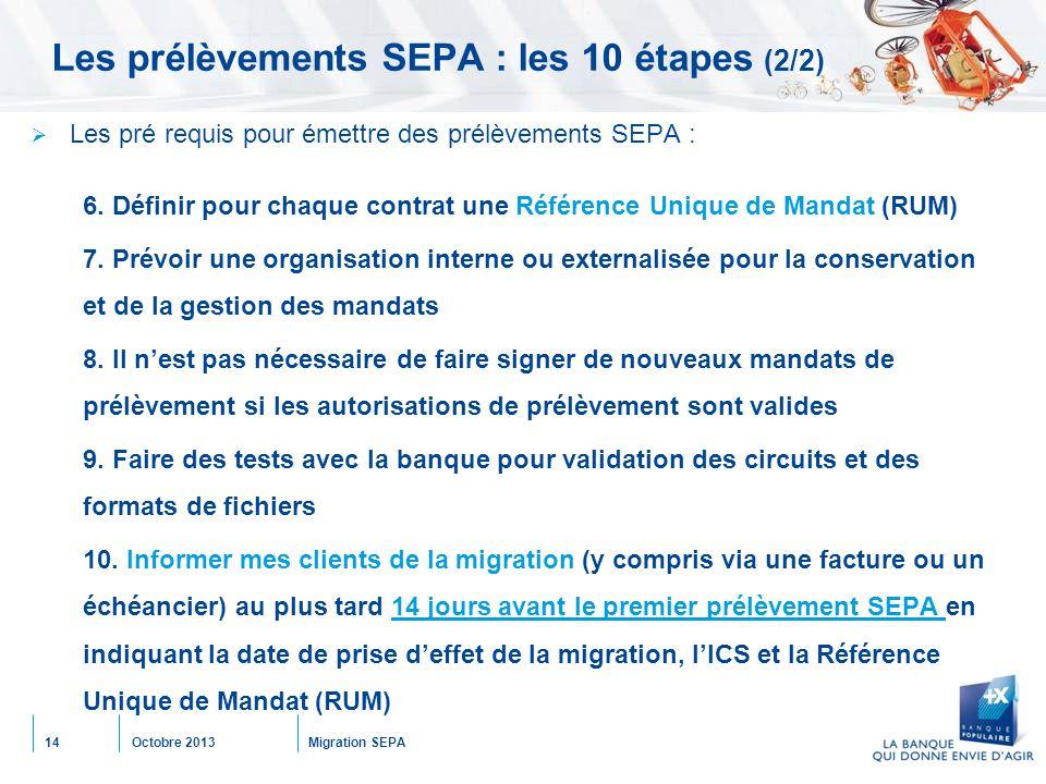 Octobre 2013Migration SEPA14 Les prélèvements SEPA : les 10 étapes (2/2)  Les pré requis pour émettre des prélèvements SEPA : 6. Définir pour chaque
