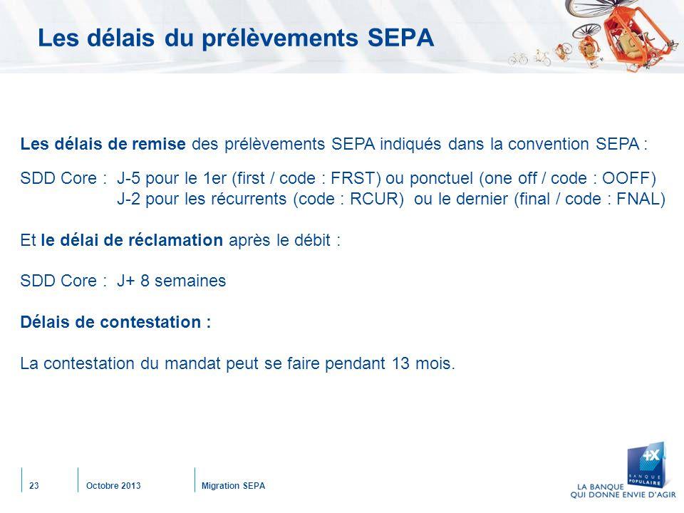Octobre 2013Migration SEPA23 Les délais du prélèvements SEPA Les délais de remise des prélèvements SEPA indiqués dans la convention SEPA : SDD Core : J-5 pour le 1er (first / code : FRST) ou ponctuel (one off / code : OOFF) J-2 pour les récurrents (code : RCUR) ou le dernier (final / code : FNAL) Et le délai de réclamation après le débit : SDD Core : J+ 8 semaines Délais de contestation : La contestation du mandat peut se faire pendant 13 mois.