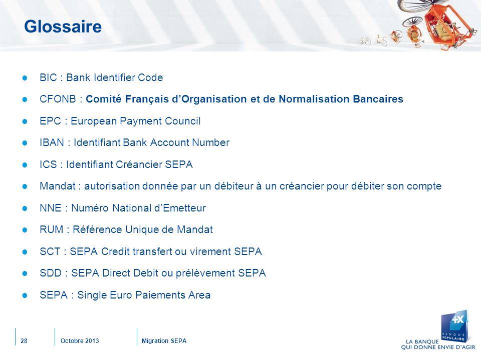 Octobre 2013Migration SEPA28 Glossaire BIC : Bank Identifier Code CFONB : Comité Français d'Organisation et de Normalisation Bancaires EPC : European