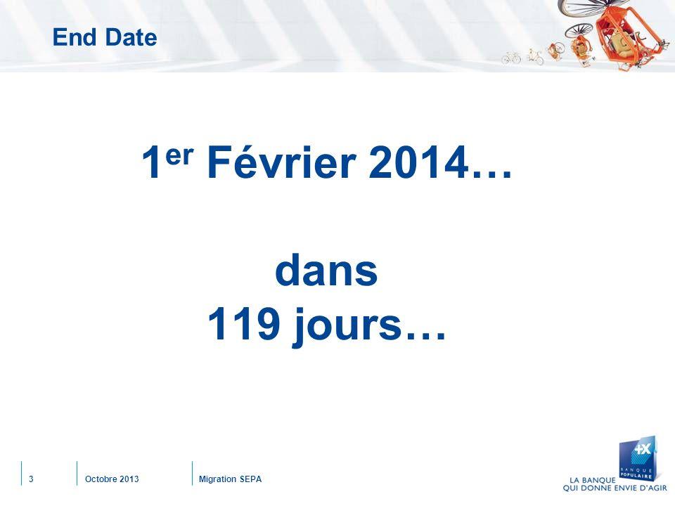 Octobre 2013Migration SEPA3 End Date 1 er Février 2014… dans 119 jours…