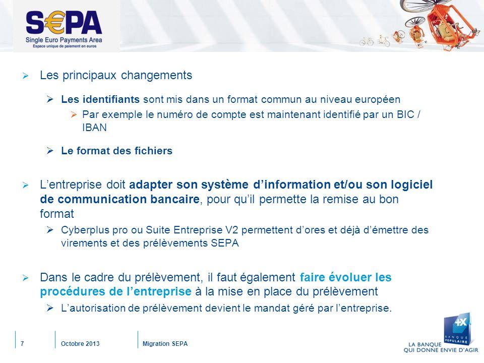 Octobre 2013Migration SEPA7 SEPA  Les principaux changements  Les identifiants sont mis dans un format commun au niveau européen  Par exemple le nu