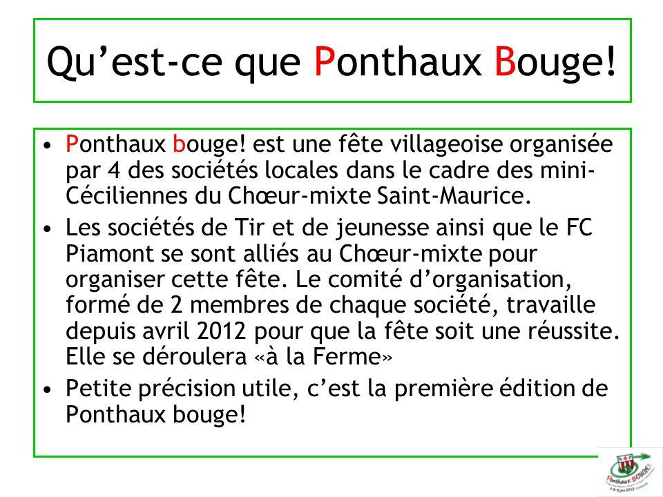 Qu'est-ce que Ponthaux Bouge! Ponthaux bouge! est une fête villageoise organisée par 4 des sociétés locales dans le cadre des mini- Céciliennes du Chœ
