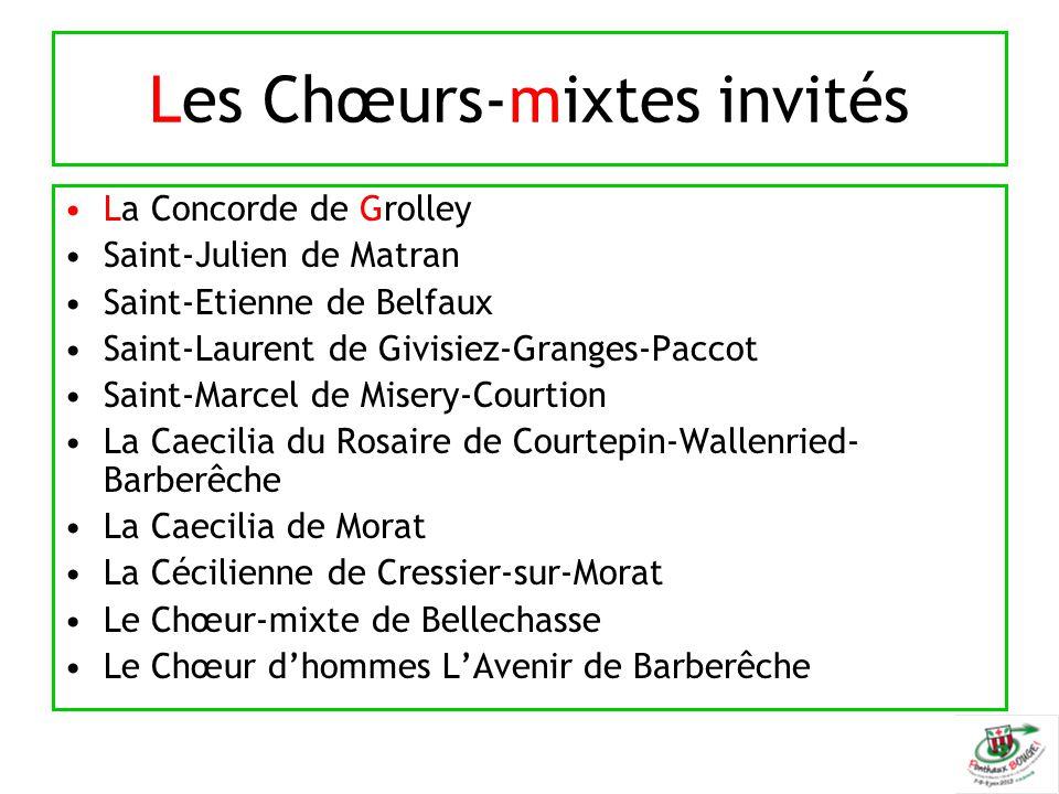 Les Chœurs-mixtes invités La Concorde de Grolley Saint-Julien de Matran Saint-Etienne de Belfaux Saint-Laurent de Givisiez-Granges-Paccot Saint-Marcel