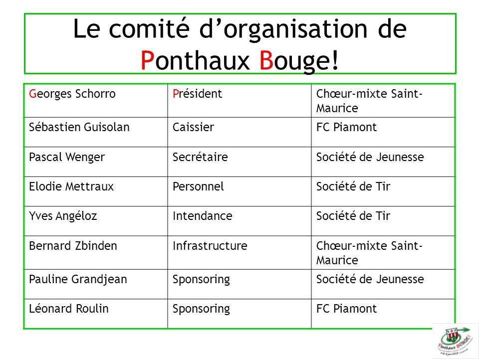 Le comité d'organisation de Ponthaux Bouge! Georges SchorroPrésidentChœur-mixte Saint- Maurice Sébastien GuisolanCaissierFC Piamont Pascal WengerSecré