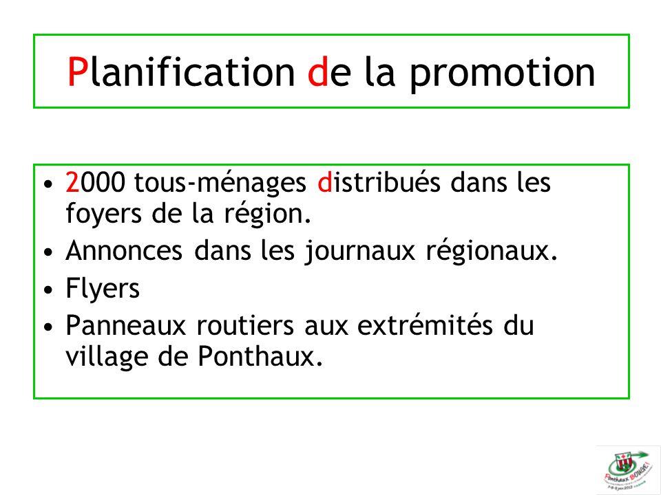 Planification de la promotion 2000 tous-ménages distribués dans les foyers de la région. Annonces dans les journaux régionaux. Flyers Panneaux routier