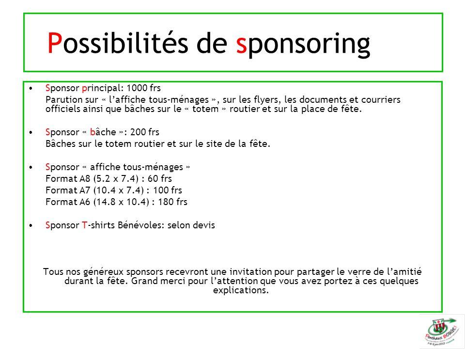 Possibilités de sponsoring Sponsor principal: 1000 frs Parution sur « l'affiche tous-ménages », sur les flyers, les documents et courriers officiels ainsi que bâches sur le « totem » routier et sur la place de fête.