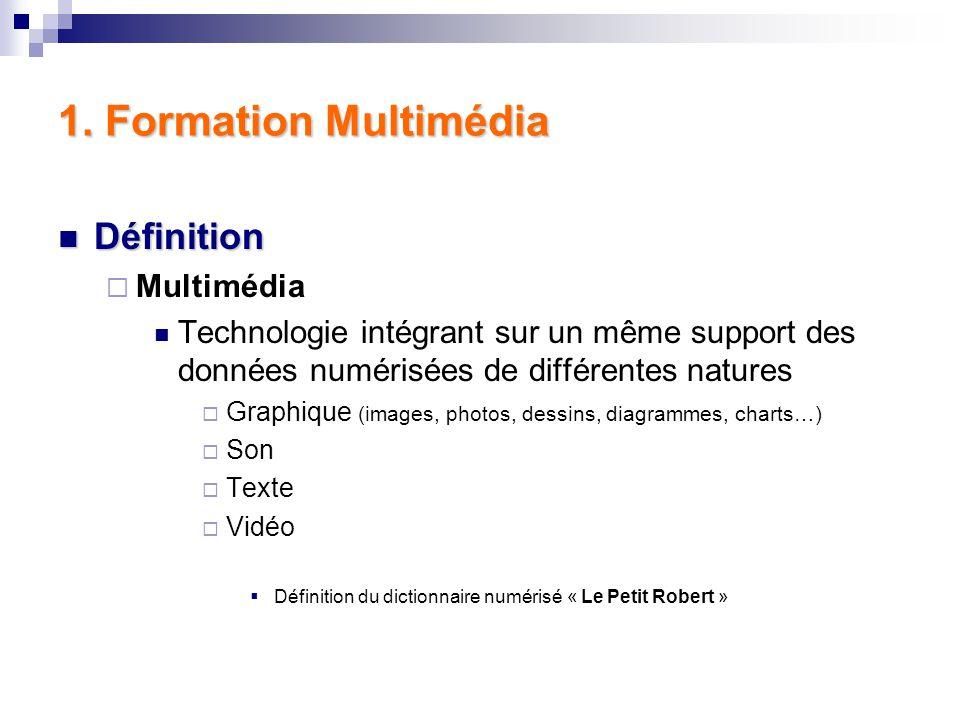 I. Première Partie – Présentations Définition du mot « Multimédia » Présentation des objectifs de la formation Présentation des logiciels Présentation