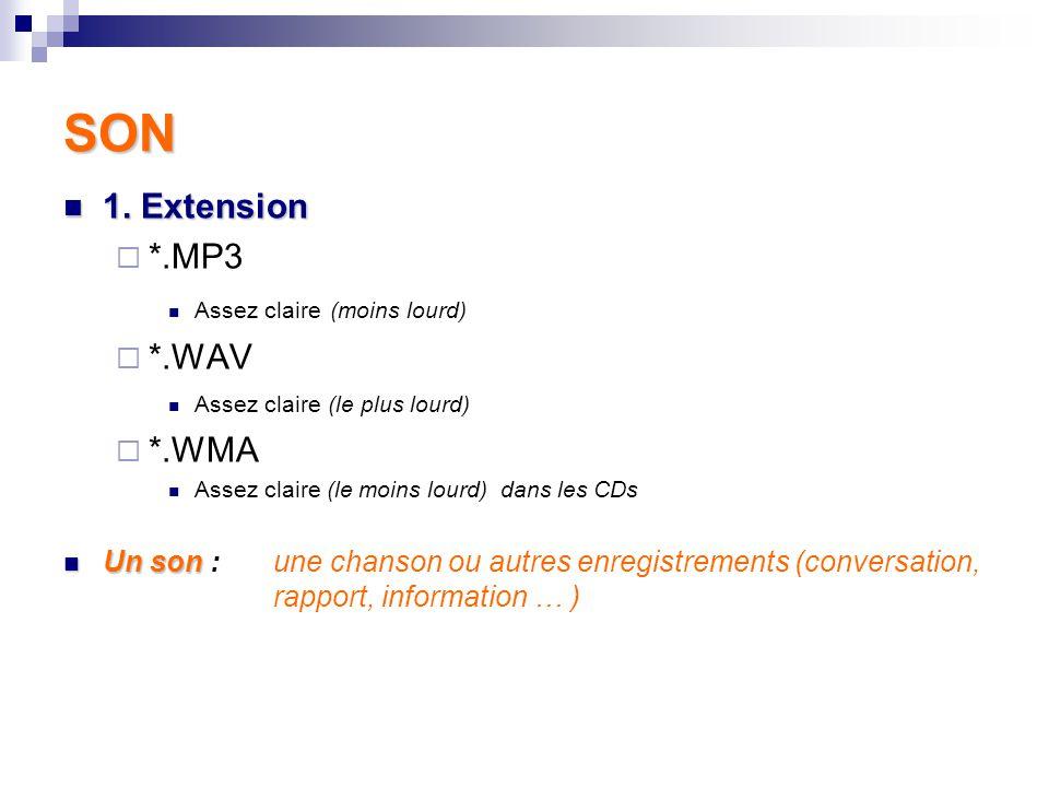 SON Son – Extension – Comment faire pour savoir que c'est un son.